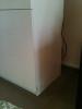 slight water puff on cabinet